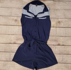 Forever 21 navy blue button down shorts romper